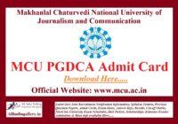 MCU PGDCA Admit Card