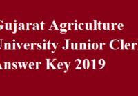 Gujarat Agriculture University Junior Clerk Answer Key
