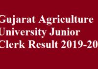 Gujarat Agriculture University Junior Clerk Result