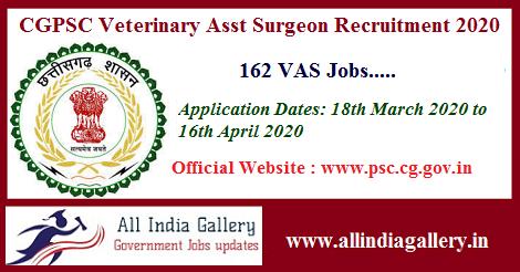 CGPSC Veterinary Assistant Surgeon Recruitment