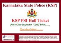 KSP PSI Hall Ticket