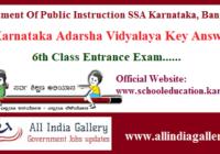 Karnataka Adarsha Vidyalaya Key Answer