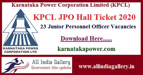KPCL JPO Hall Ticket 2020