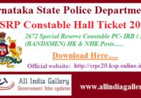 KSRP Constable Hall Ticket 2020