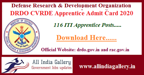DRDO CVRDE Apprentice Admit Card 2020