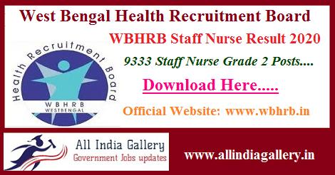 WBHRB Staff Nurse Result 2020