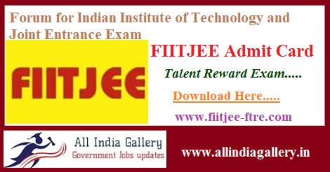 FIITJEE Talent Reward Exam Admit Card