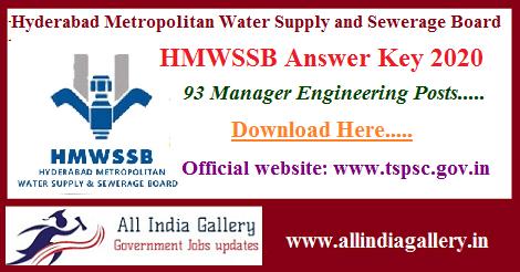 HMWSSB Manager Answer Key 2020
