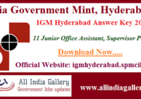 IGM Hyderabad Junior Office Assistant Answer Key 2020