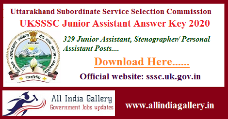 UKSSSC Junior Assistant Answer Key 2020