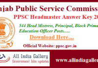 PPSC Headmaster Answer Key 2020