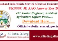 UKSSSC JE AAO Answer Key 2020