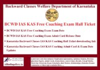 BCWD IAS KAS Free Coaching Exam Hall Ticket