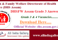 DHSFW Assam Grade 3 Answer Key