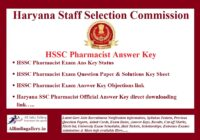 HSSC Pharmacist Answer Key