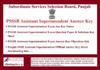 PSSSB Assistant Superintendent Answer Key