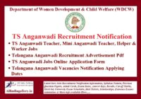 TS Anganwadi Recruitment Notification