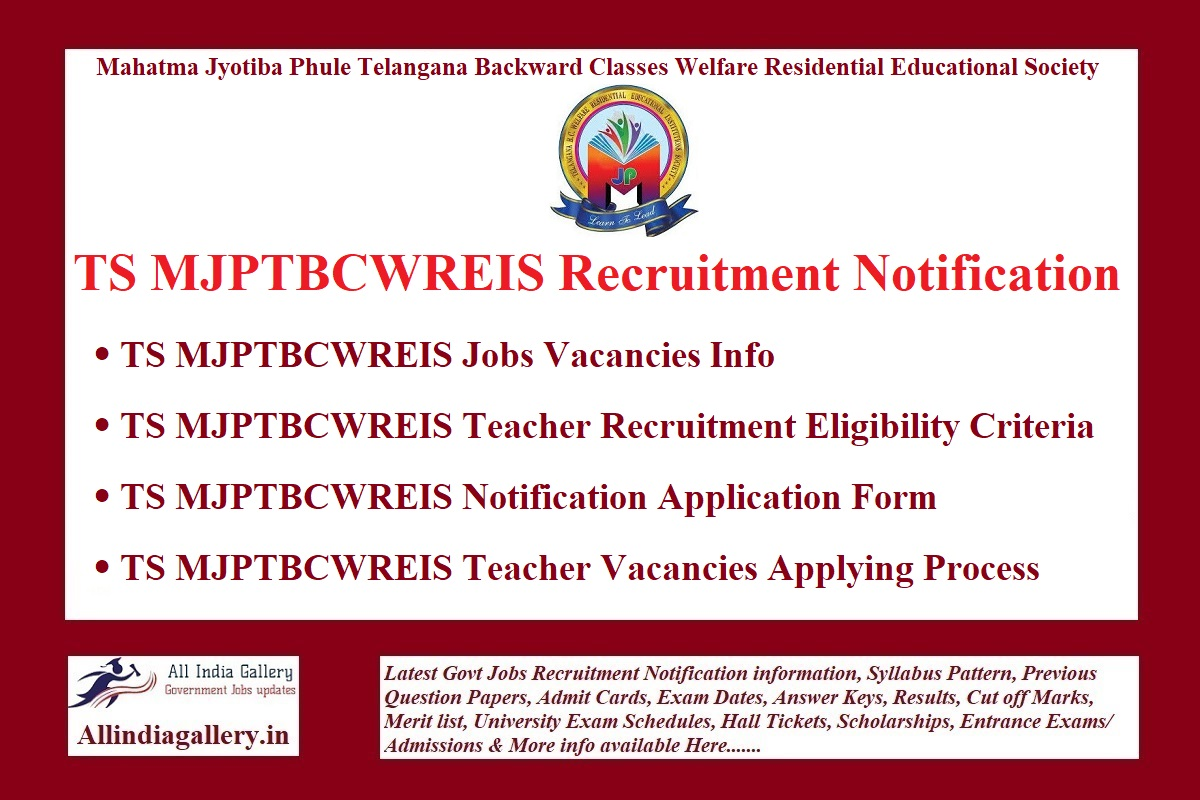 TS MJPTBCWREIS Recruitment Notification