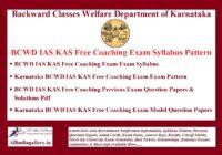 BCWD IAS KAS Free Coaching Exam Syllabus Pattern