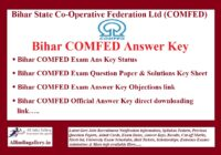 Bihar COMFED Answer Key
