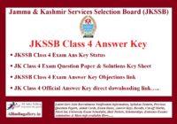 JKSSB Class 4 Answer Key