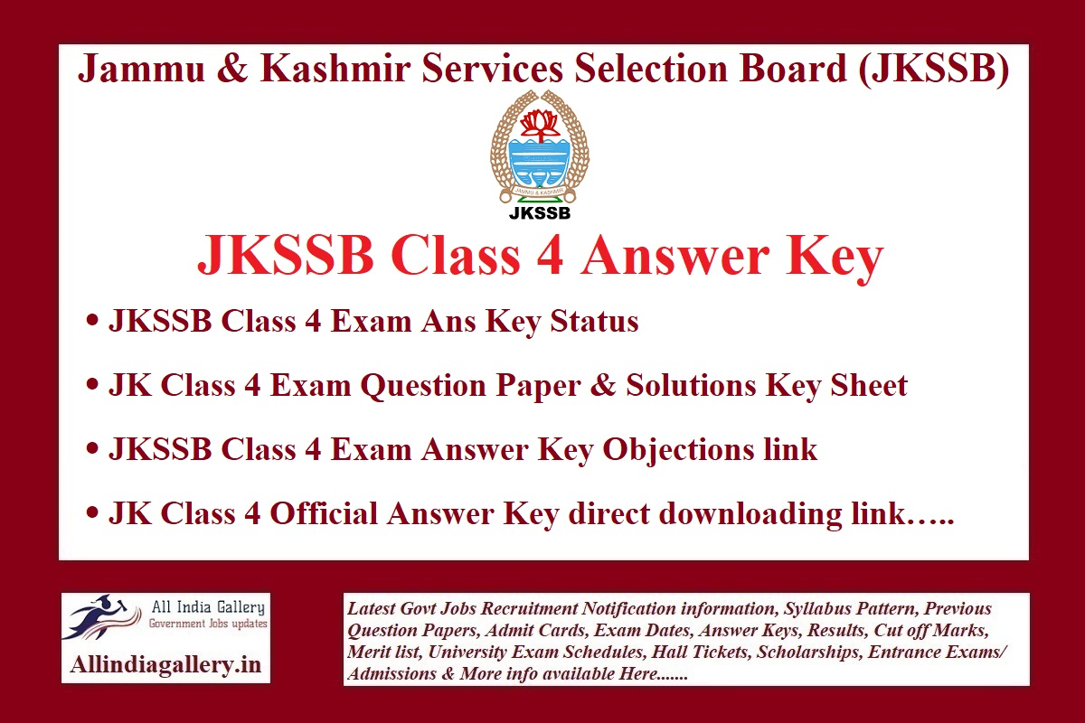 JKSSB Class 4 Answer Key