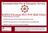 KSFES Fireman PET PST Hall Ticket
