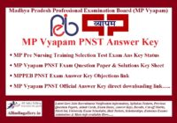 MP Vyapam PNST Answer Key
