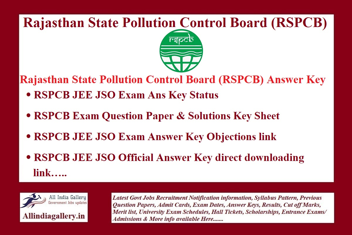 RSPCB JEE Answer Key