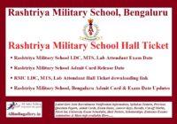 Rashtriya Military School Hall Ticket