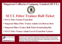 SCCL Fitter Trainee Hall Ticket