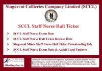 SCCL Staff Nurse Hall Ticket