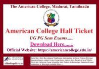 American College Hall Ticket