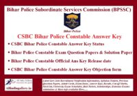 CSBC Bihar Police Constable Answer key