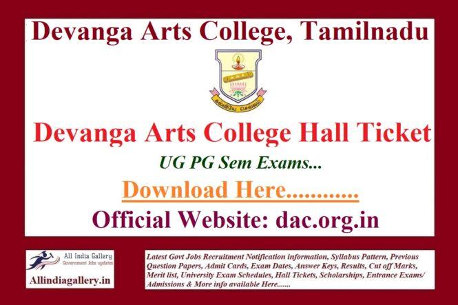 Devanga Arts College Hall Ticket