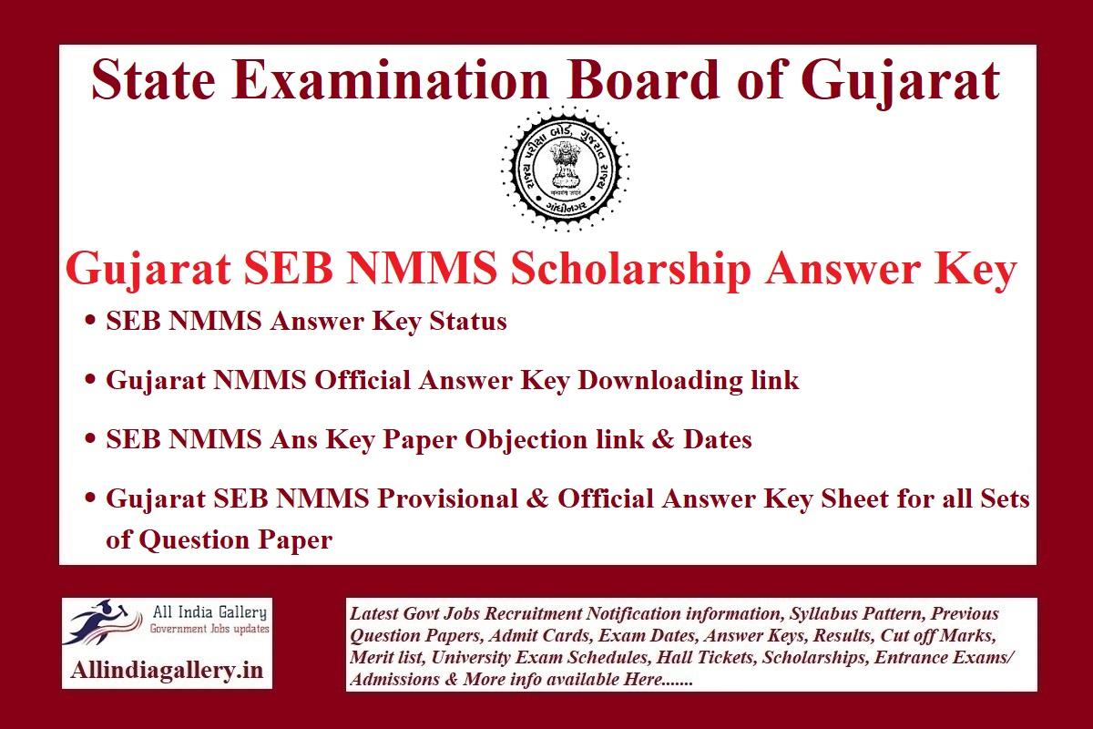 Gujarat SEB NMMS Answer Key