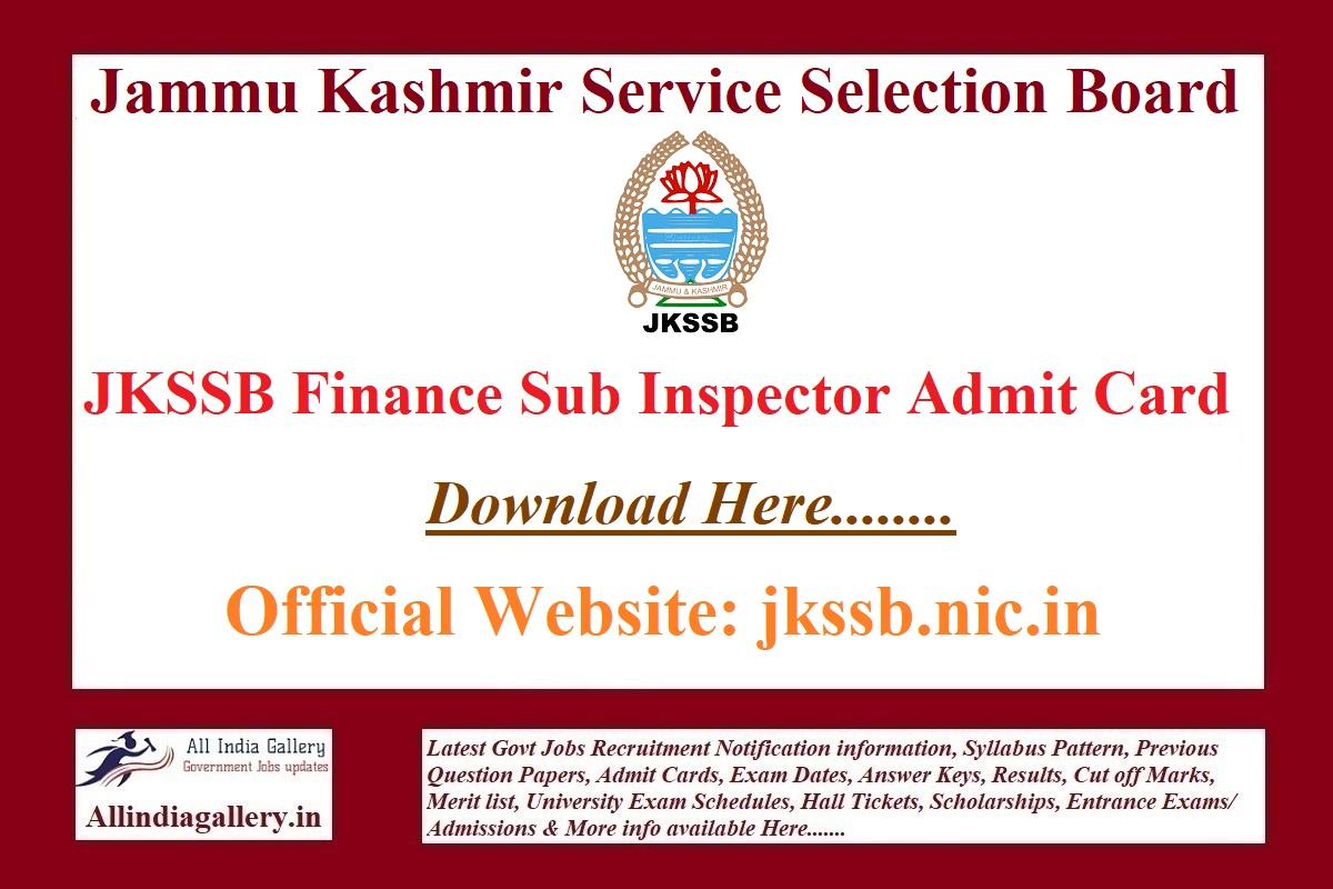 JKSSB Finance Sub Inspector Admit Card