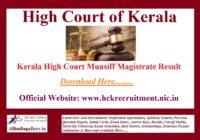 Kerala High Court Munsiff Magistrate Result