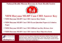 NHM Haryana MLHP Cum CHO Answer Key