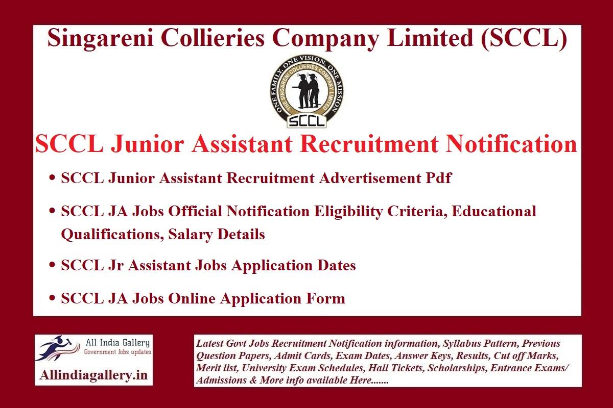SCCL Junior Assistant Recruitment Notification