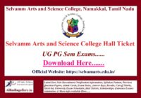 Selvamm Arts and Science College Hall Ticket