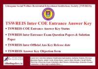TSWREIS COE Entrance Answer Key