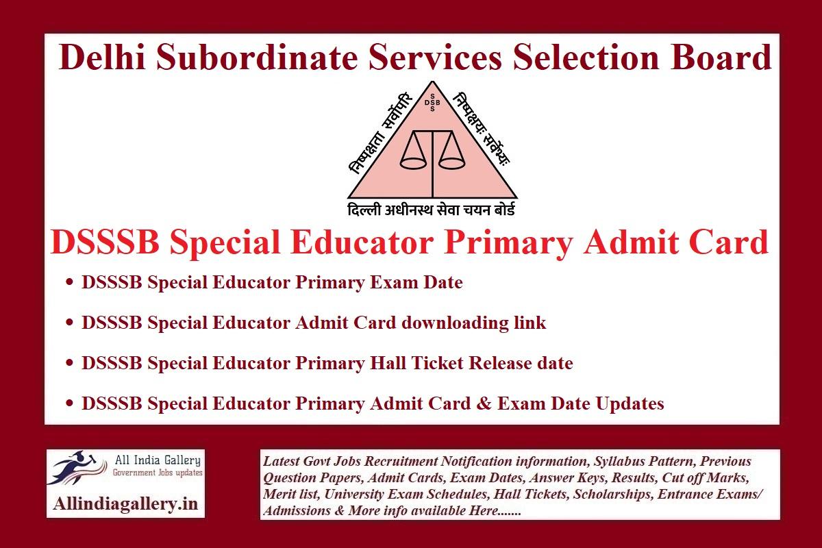 DSSSB Special Educator Primary Admit Card