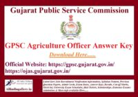 GPSC Agriculture Officer Answer Key