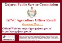 GPSC Agriculture Officer Result