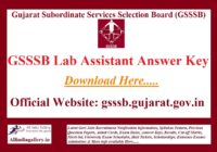 GSSSB Lab Assistant Answer Key