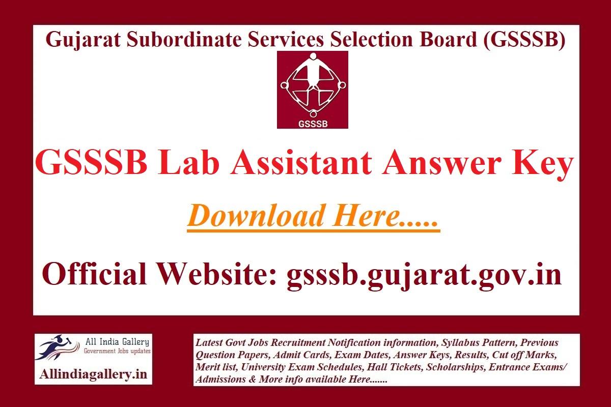 GSSSB Lab Assistant Answer Key