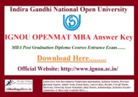 IGNOU OPENMAT MBA Answer Key