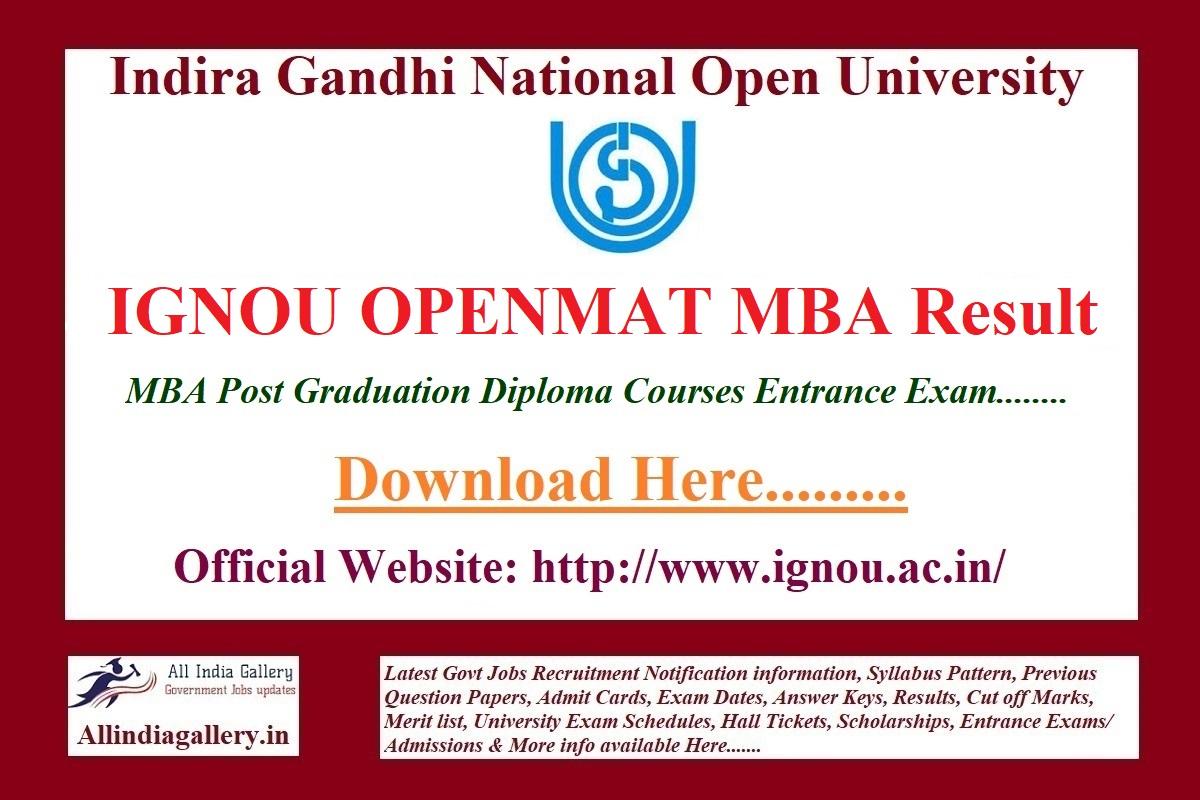 IGNOU OPENMAT MBA Result