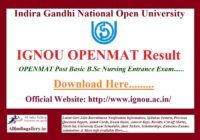 IGNOU OPENMAT Result